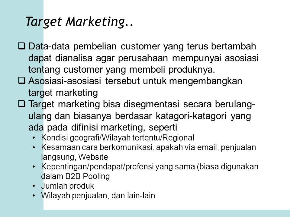 Target Marketing..  Data-data pembelian customer yang terus bertambah dapat dianalisa agar perusahaan mempunyai asosiasi tentang customer yang membel