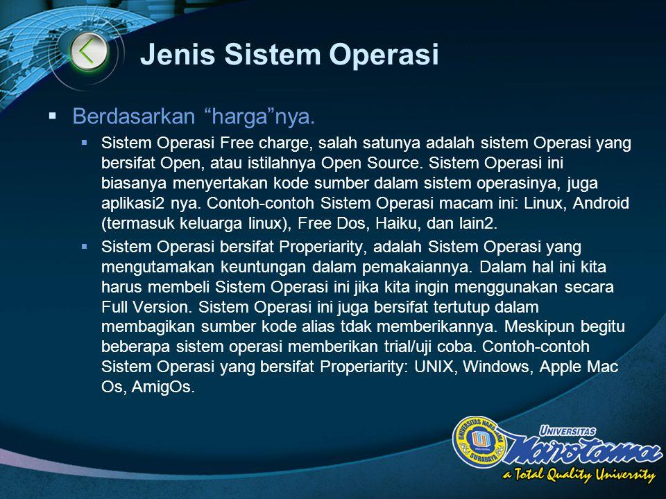 """LOGO Jenis Sistem Operasi  Berdasarkan """"harga""""nya.  Sistem Operasi Free charge, salah satunya adalah sistem Operasi yang bersifat Open, atau istilah"""