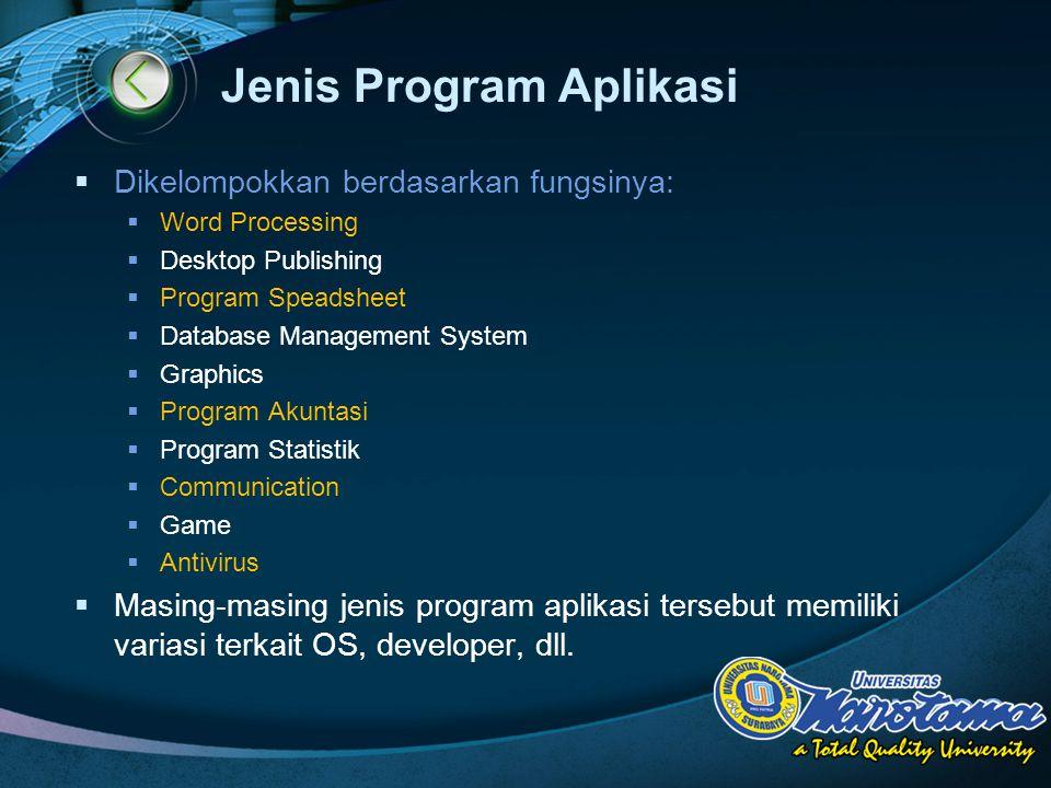 LOGO Jenis Program Aplikasi  Dikelompokkan berdasarkan fungsinya:  Word Processing  Desktop Publishing  Program Speadsheet  Database Management S