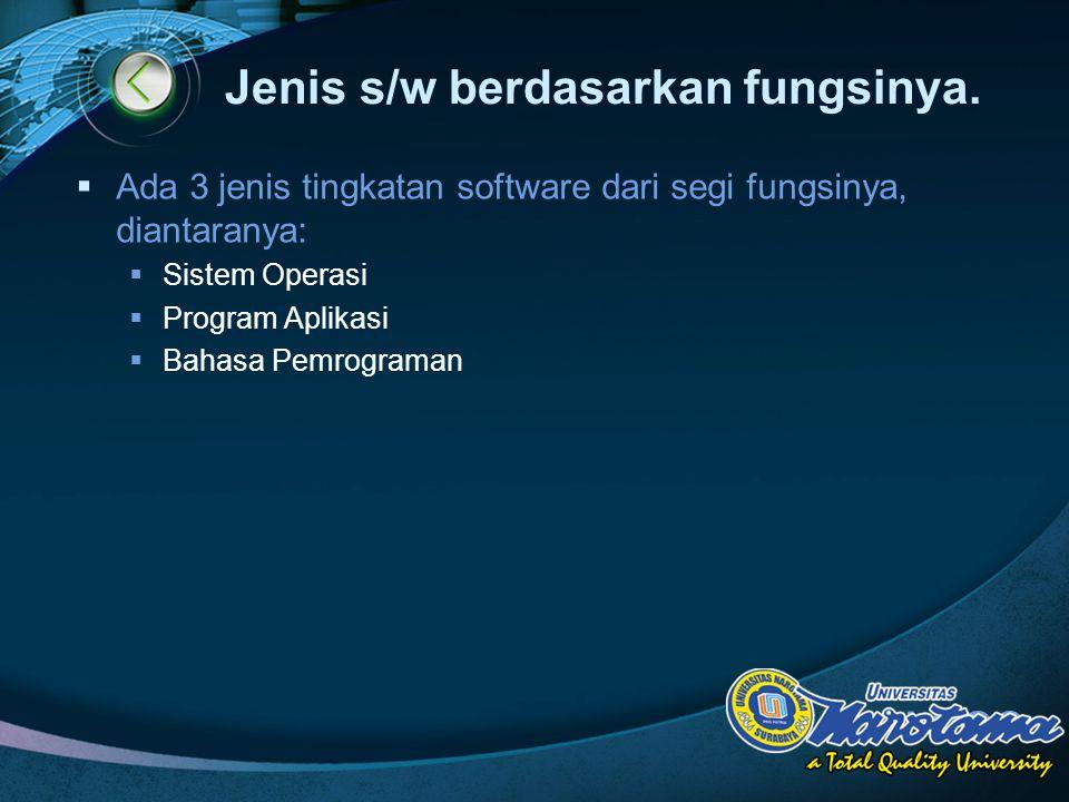 LOGO Jenis s/w berdasarkan fungsinya.  Ada 3 jenis tingkatan software dari segi fungsinya, diantaranya:  Sistem Operasi  Program Aplikasi  Bahasa