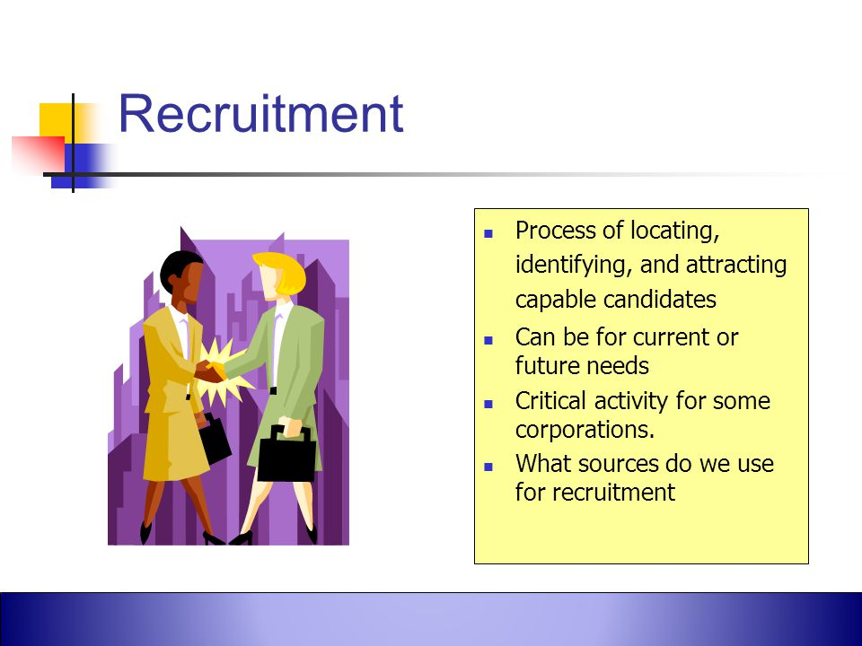 Robbins et al., Fundamentals of Management, 4th Canadian Edition ©2005 Pearson Education Canada, Inc. Recruitment Process of locating, identifying, an