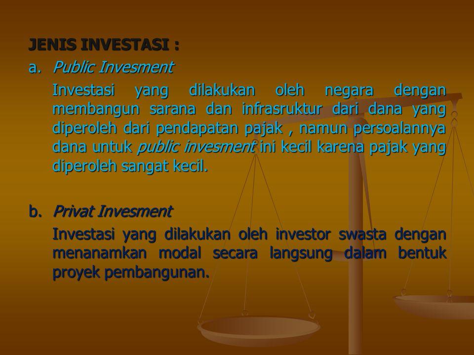 JENIS INVESTASI : a.Public Invesment Investasi yang dilakukan oleh negara dengan membangun sarana dan infrasruktur dari dana yang diperoleh dari penda
