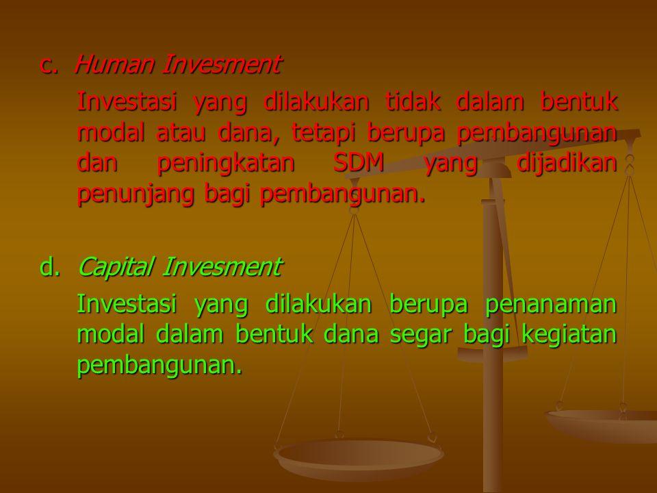 c.Human Invesment Investasi yang dilakukan tidak dalam bentuk modal atau dana, tetapi berupa pembangunan dan peningkatan SDM yang dijadikan penunjang