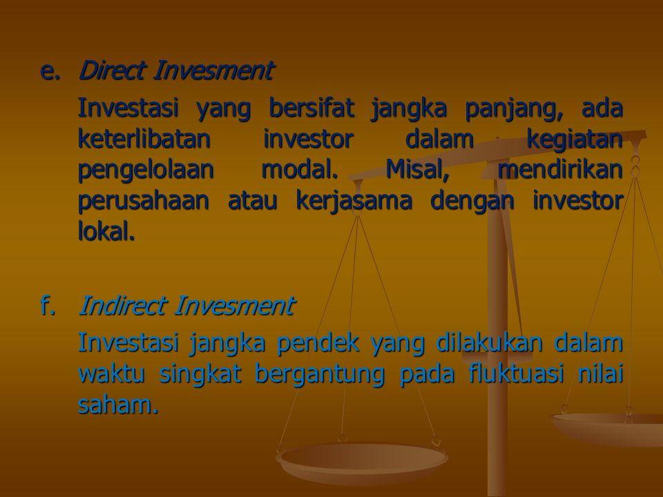 e.Direct Invesment Investasi yang bersifat jangka panjang, ada keterlibatan investor dalam kegiatan pengelolaan modal. Misal, mendirikan perusahaan at