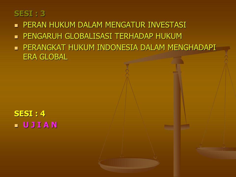 SESI : 3 PERAN HUKUM DALAM MENGATUR INVESTASI PERAN HUKUM DALAM MENGATUR INVESTASI PENGARUH GLOBALISASI TERHADAP HUKUM PENGARUH GLOBALISASI TERHADAP H