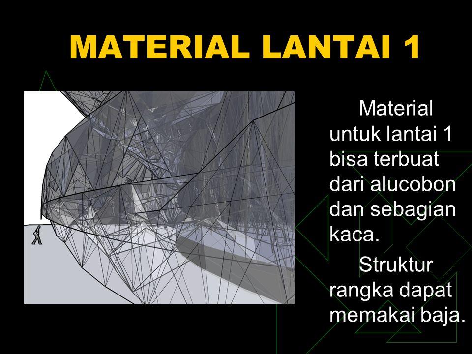 MATERIAL LANTAI 1 Material untuk lantai 1 bisa terbuat dari alucobon dan sebagian kaca. Struktur rangka dapat memakai baja.