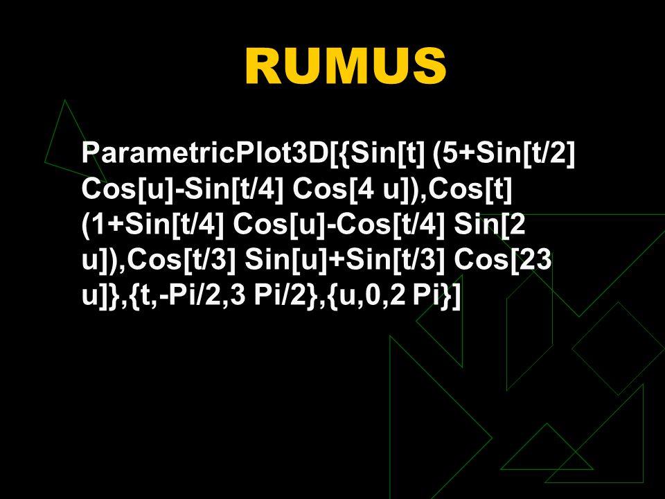 RUMUS ParametricPlot3D[{Sin[t] (5+Sin[t/2] Cos[u]-Sin[t/4] Cos[4 u]),Cos[t] (1+Sin[t/4] Cos[u]-Cos[t/4] Sin[2 u]),Cos[t/3] Sin[u]+Sin[t/3] Cos[23 u]},