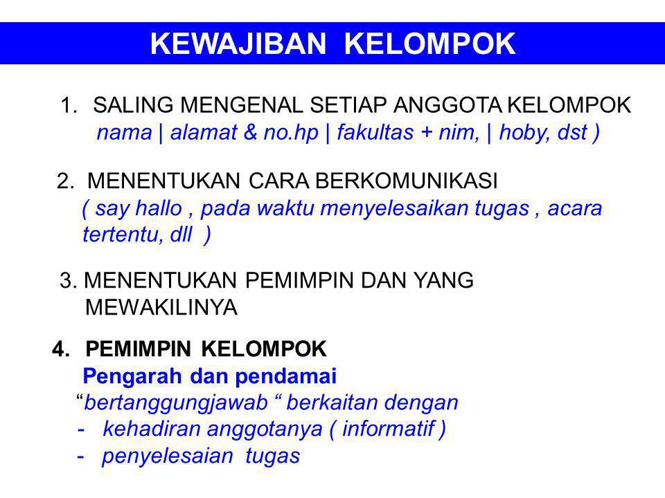 KEWAJIBAN KELOMPOK 1.SALING MENGENAL SETIAP ANGGOTA KELOMPOK nama | alamat & no.hp | fakultas + nim, | hoby, dst ) 2. MENENTUKAN CARA BERKOMUNIKASI (