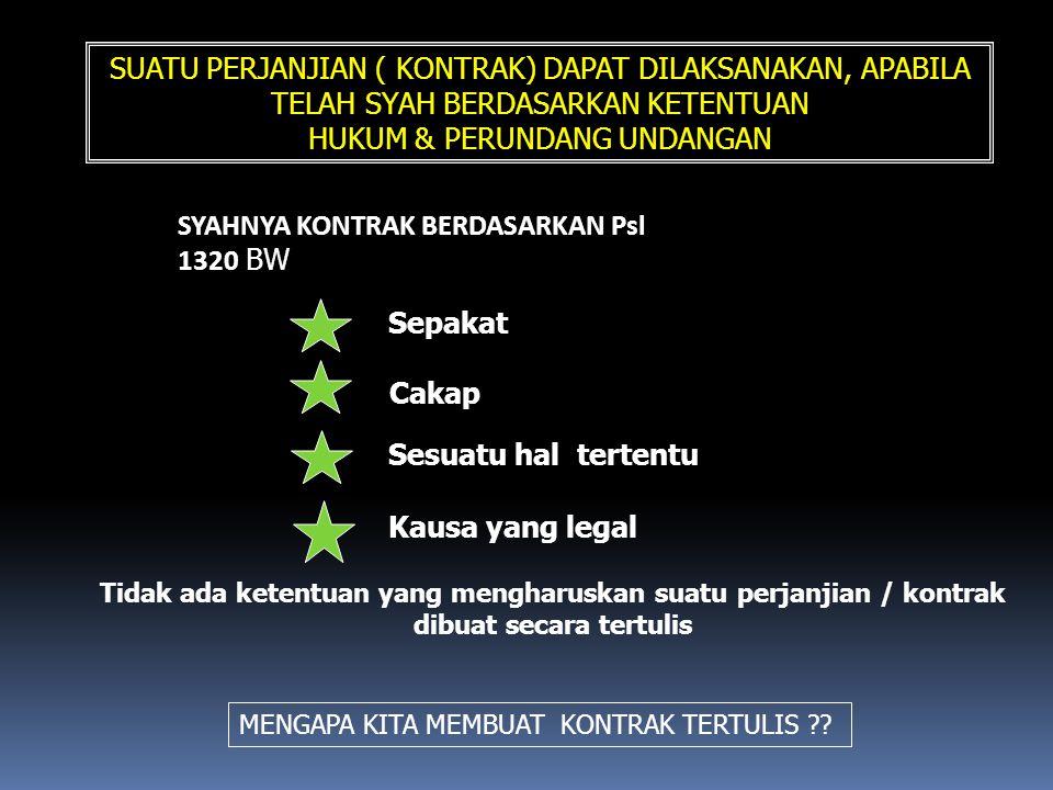 SUATU PERJANJIAN ( KONTRAK) DAPAT DILAKSANAKAN, APABILA TELAH SYAH BERDASARKAN KETENTUAN HUKUM & PERUNDANG UNDANGAN SYAHNYA KONTRAK BERDASARKAN Psl 13