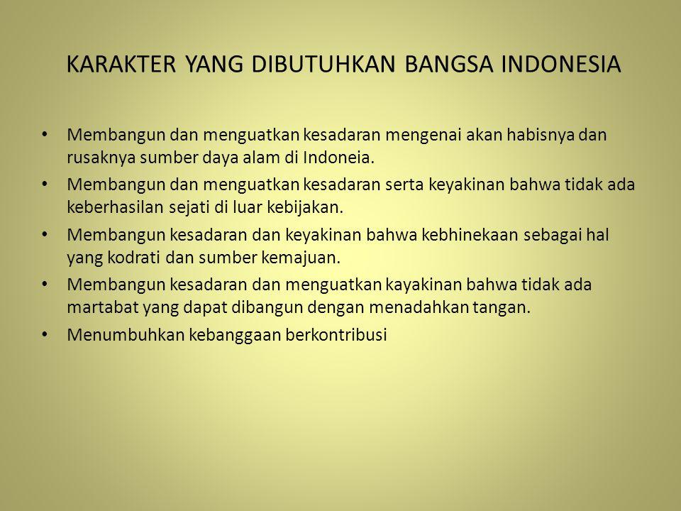 KARAKTER YANG DIBUTUHKAN BANGSA INDONESIA Membangun dan menguatkan kesadaran mengenai akan habisnya dan rusaknya sumber daya alam di Indoneia. Membang