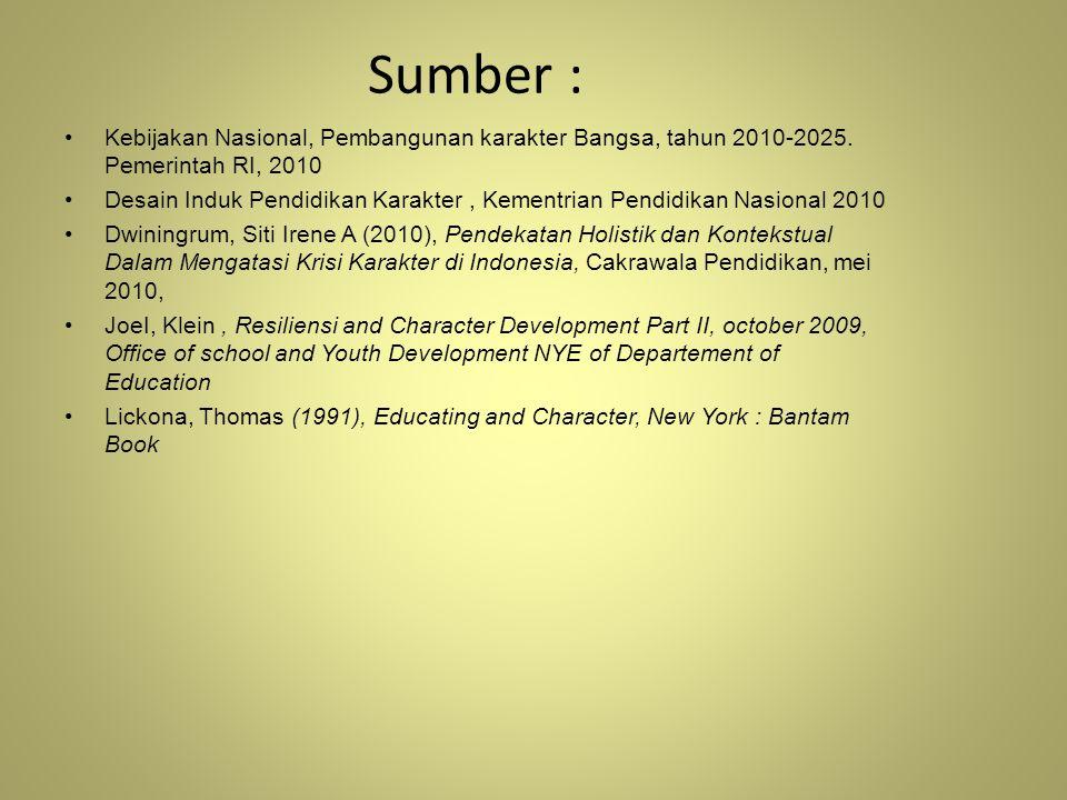 Sumber : Kebijakan Nasional, Pembangunan karakter Bangsa, tahun 2010-2025. Pemerintah RI, 2010 Desain Induk Pendidikan Karakter, Kementrian Pendidikan