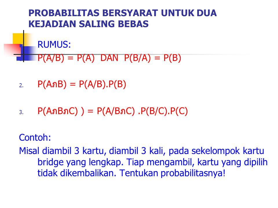 RUMUS: 1. P(A/B) = P(A) DAN P(B/A) = P(B) 2. P(AภB) = P(A/B).P(B) 3. P(AภBภC) ) = P(A/BภC).P(B/C).P(C) Contoh: Misal diambil 3 kartu, diambil 3 kali,