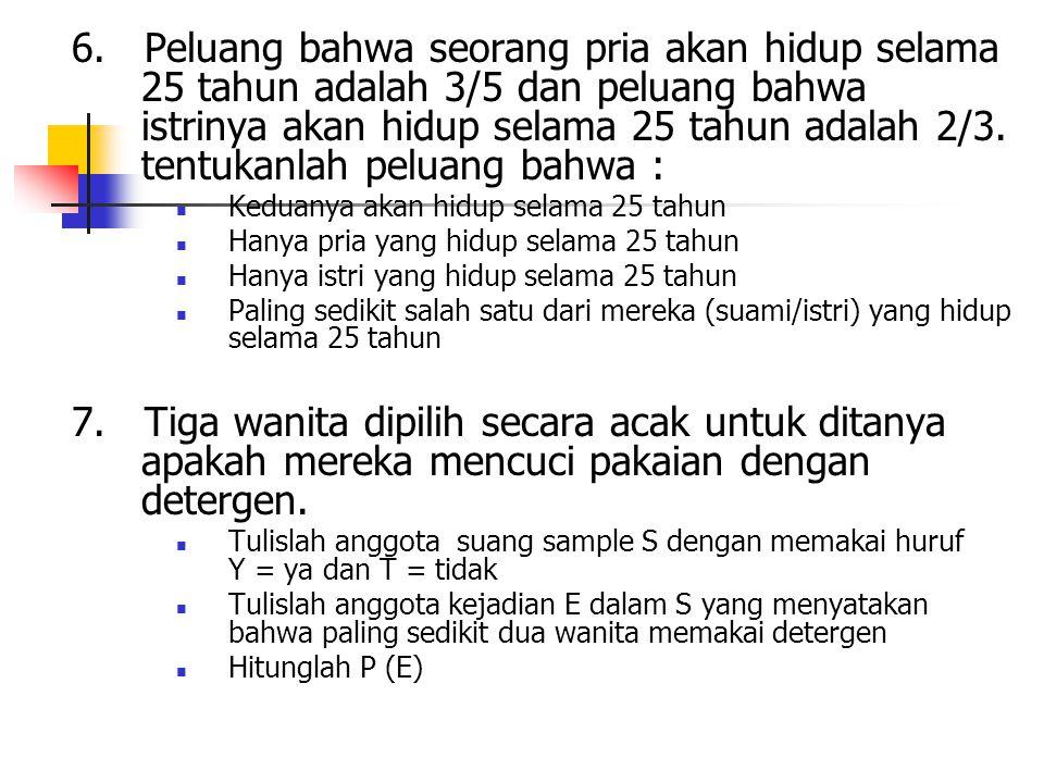 6. Peluang bahwa seorang pria akan hidup selama 25 tahun adalah 3/5 dan peluang bahwa istrinya akan hidup selama 25 tahun adalah 2/3. tentukanlah pelu