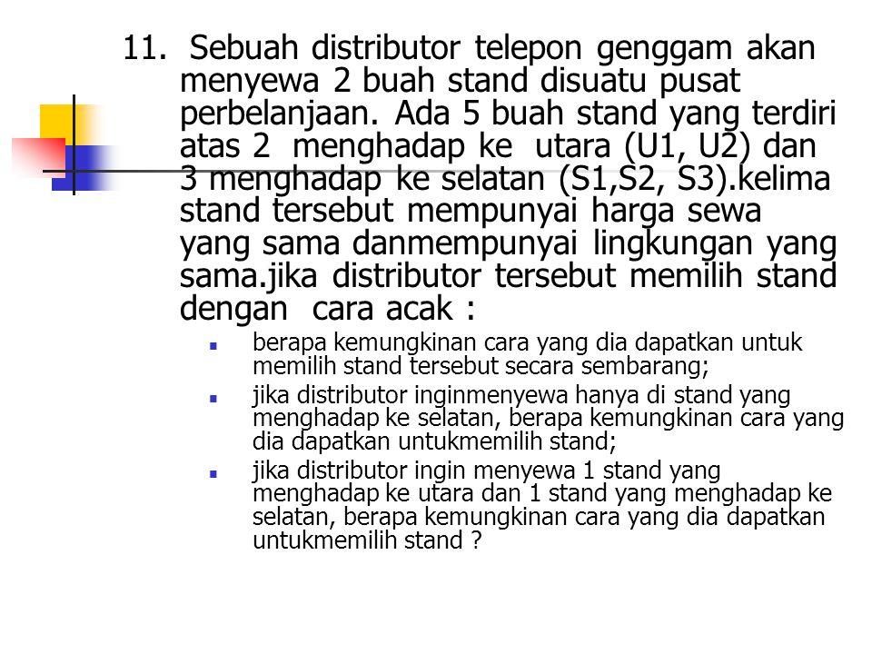 11. Sebuah distributor telepon genggam akan menyewa 2 buah stand disuatu pusat perbelanjaan. Ada 5 buah stand yang terdiri atas 2 menghadap ke utara (