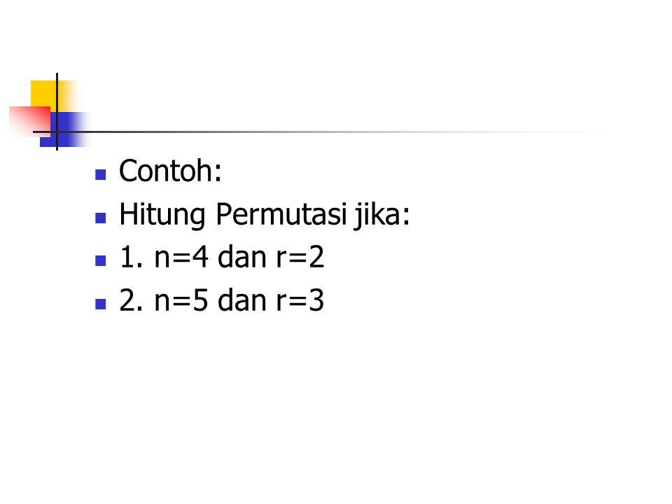 Contoh: Hitung Permutasi jika: 1. n=4 dan r=2 2. n=5 dan r=3