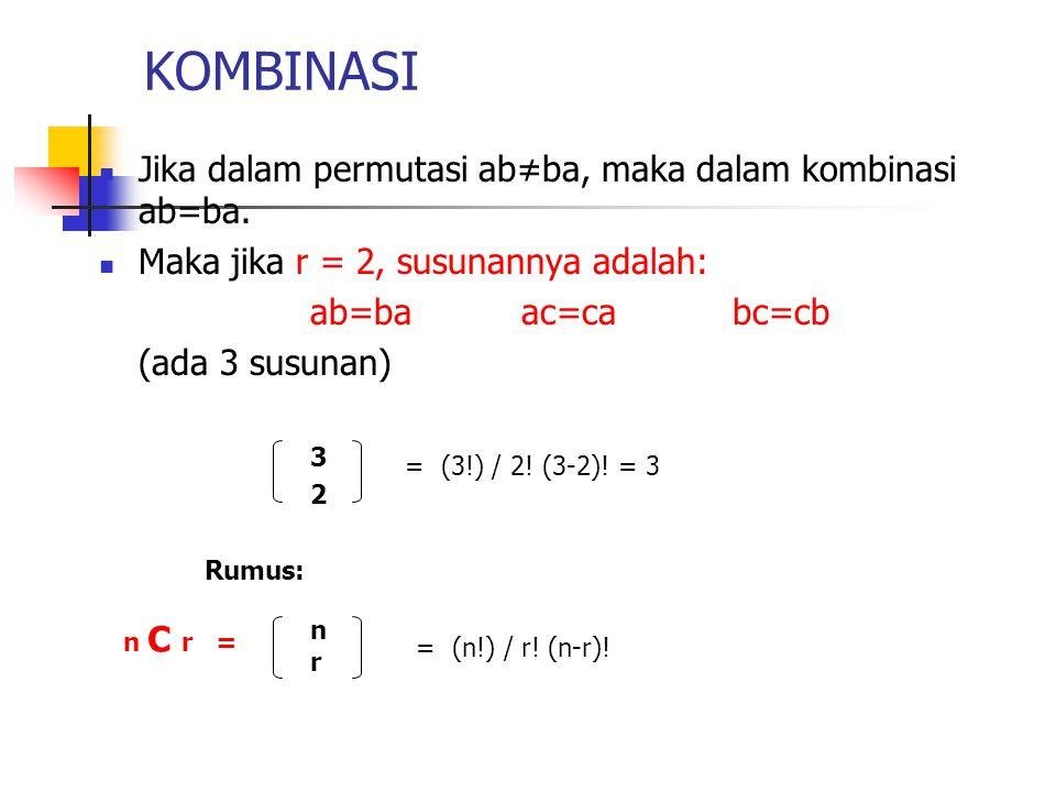KOMBINASI Jika dalam permutasi ab≠ba, maka dalam kombinasi ab=ba. Maka jika r = 2, susunannya adalah: ab=ba ac=ca bc=cb (ada 3 susunan) 3 2 Rumus: = (