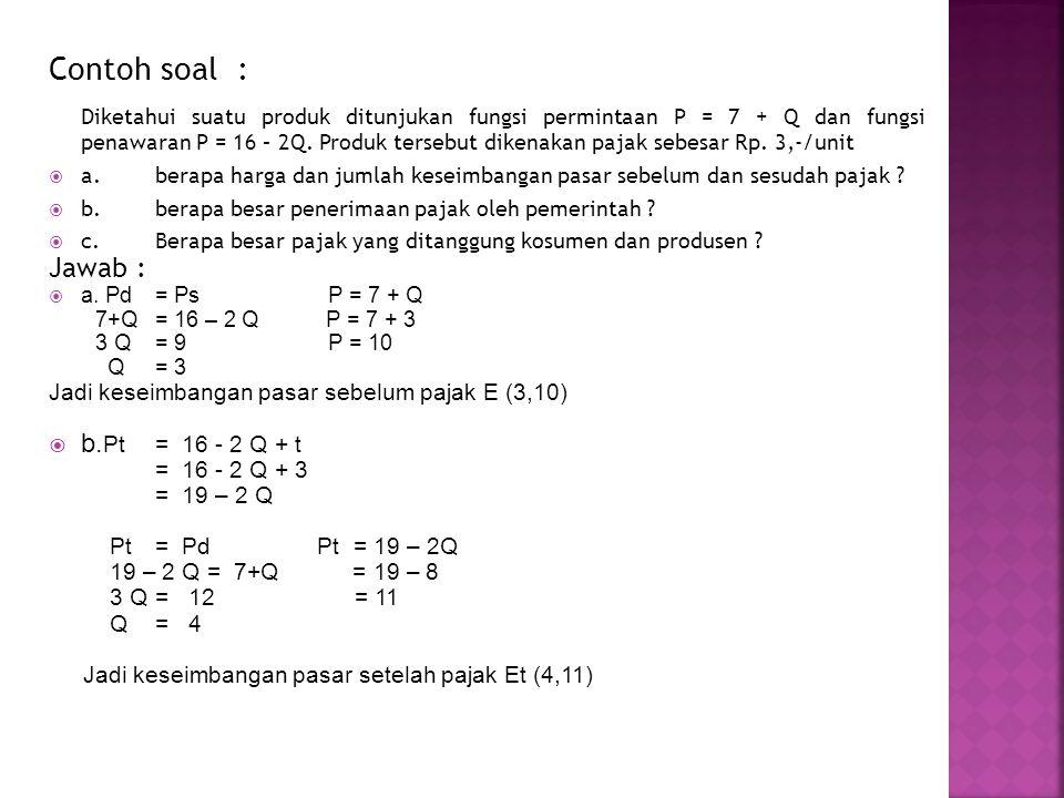 Contoh soal : Diketahui suatu produk ditunjukan fungsi permintaan P = 7 + Q dan fungsi penawaran P = 16 – 2Q. Produk tersebut dikenakan pajak sebesar