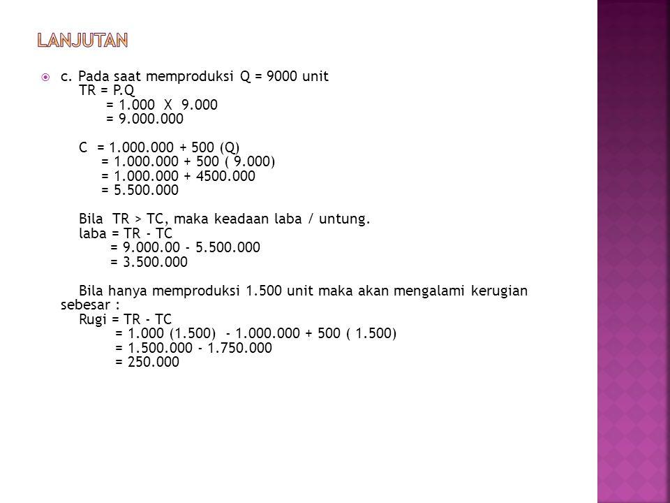  c. Pada saat memproduksi Q = 9000 unit TR = P.Q = 1.000 X 9.000 = 9.000.000 C = 1.000.000 + 500 (Q) = 1.000.000 + 500 ( 9.000) = 1.000.000 + 4500.00