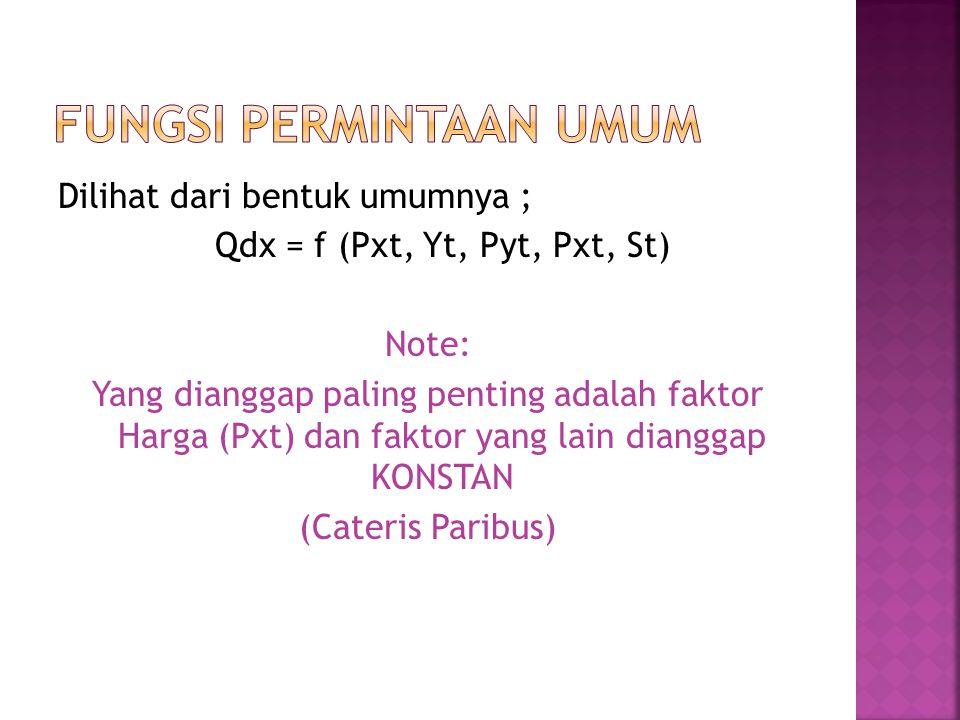 Dilihat dari bentuk umumnya ; Qdx = f (Pxt, Yt, Pyt, Pxt, St) Note: Yang dianggap paling penting adalah faktor Harga (Pxt) dan faktor yang lain diangg