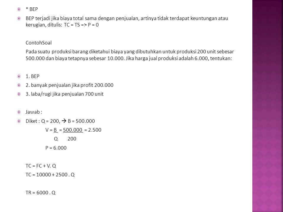  * BEP  BEP terjadi jika biaya total sama dengan penjualan, artinya tidak terdapat keuntungan atau kerugian, ditulis: TC = TS => P = 0 ContohSoal Pa