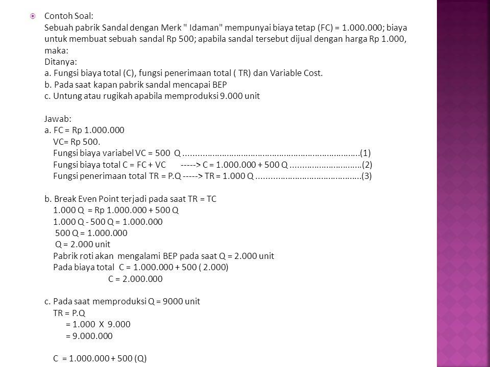  Contoh Soal: Sebuah pabrik Sandal dengan Merk Idaman mempunyai biaya tetap (FC) = 1.000.000; biaya untuk membuat sebuah sandal Rp 500; apabila sandal tersebut dijual dengan harga Rp 1.000, maka: Ditanya: a.