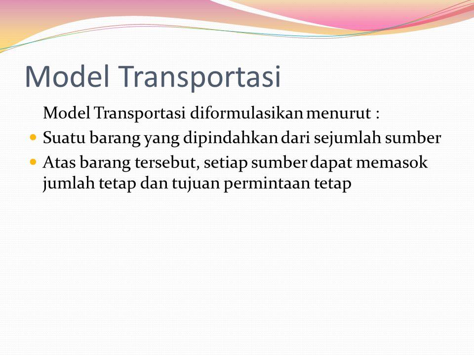 Model Transportasi Model Transportasi diformulasikan menurut : Suatu barang yang dipindahkan dari sejumlah sumber Atas barang tersebut, setiap sumber dapat memasok jumlah tetap dan tujuan permintaan tetap