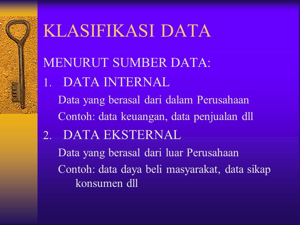 KLASIFIKASI DATA MENURUT SUMBER DATA: 1. DATA INTERNAL Data yang berasal dari dalam Perusahaan Contoh: data keuangan, data penjualan dll 2. DATA EKSTE