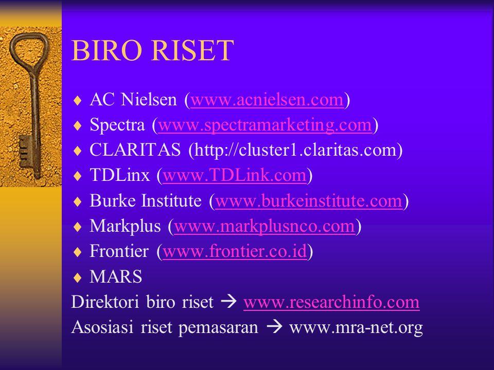 BIRO RISET  AC Nielsen (www.acnielsen.com)www.acnielsen.com  Spectra (www.spectramarketing.com)www.spectramarketing.com  CLARITAS (http://cluster1.