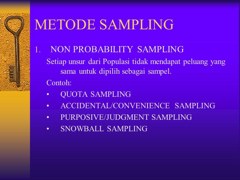 METODE SAMPLING 1. NON PROBABILITY SAMPLING Setiap unsur dari Populasi tidak mendapat peluang yang sama untuk dipilih sebagai sampel. Contoh: QUOTA SA