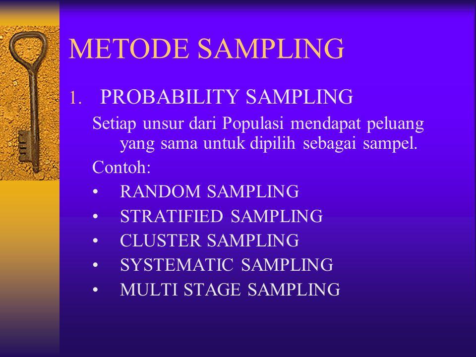 METODE SAMPLING 1. PROBABILITY SAMPLING Setiap unsur dari Populasi mendapat peluang yang sama untuk dipilih sebagai sampel. Contoh: RANDOM SAMPLING ST