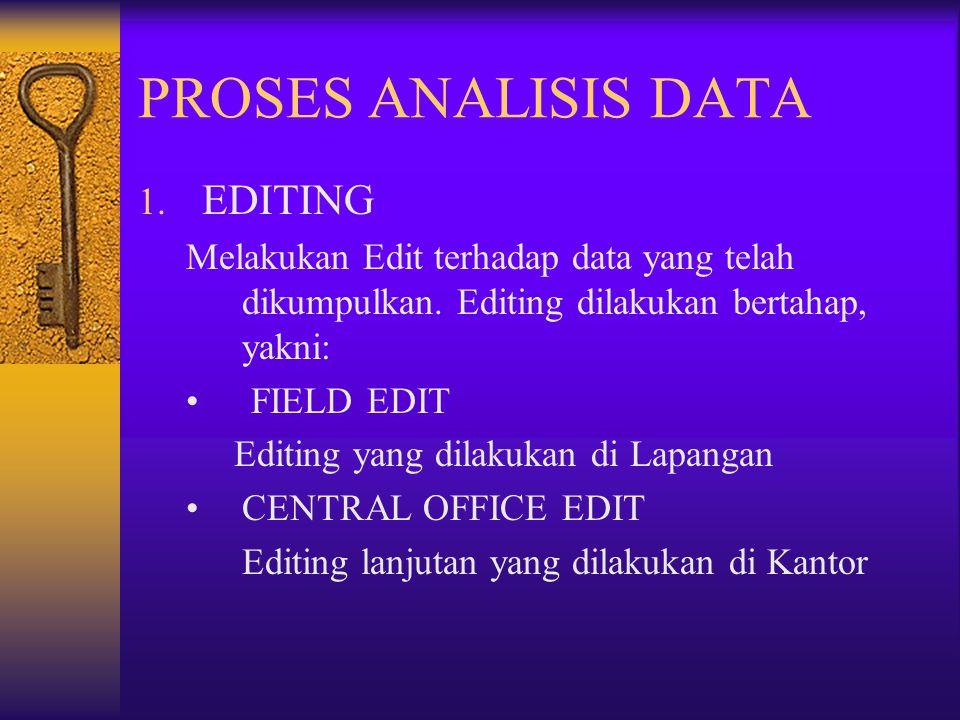 PROSES ANALISIS DATA 1. EDITING Melakukan Edit terhadap data yang telah dikumpulkan. Editing dilakukan bertahap, yakni: FIELD EDIT Editing yang dilaku
