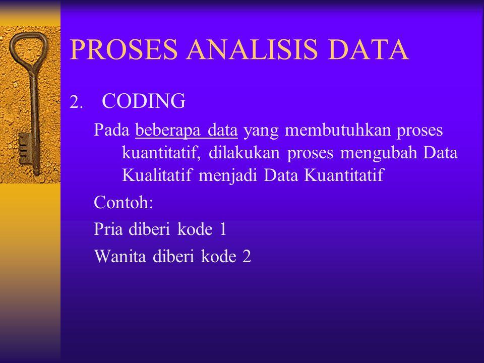 PROSES ANALISIS DATA 2. CODING Pada beberapa data yang membutuhkan proses kuantitatif, dilakukan proses mengubah Data Kualitatif menjadi Data Kuantita