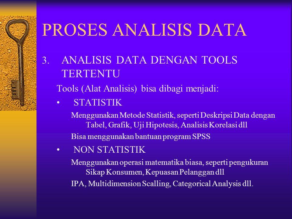 PROSES ANALISIS DATA 3. ANALISIS DATA DENGAN TOOLS TERTENTU Tools (Alat Analisis) bisa dibagi menjadi: STATISTIK Menggunakan Metode Statistik, seperti