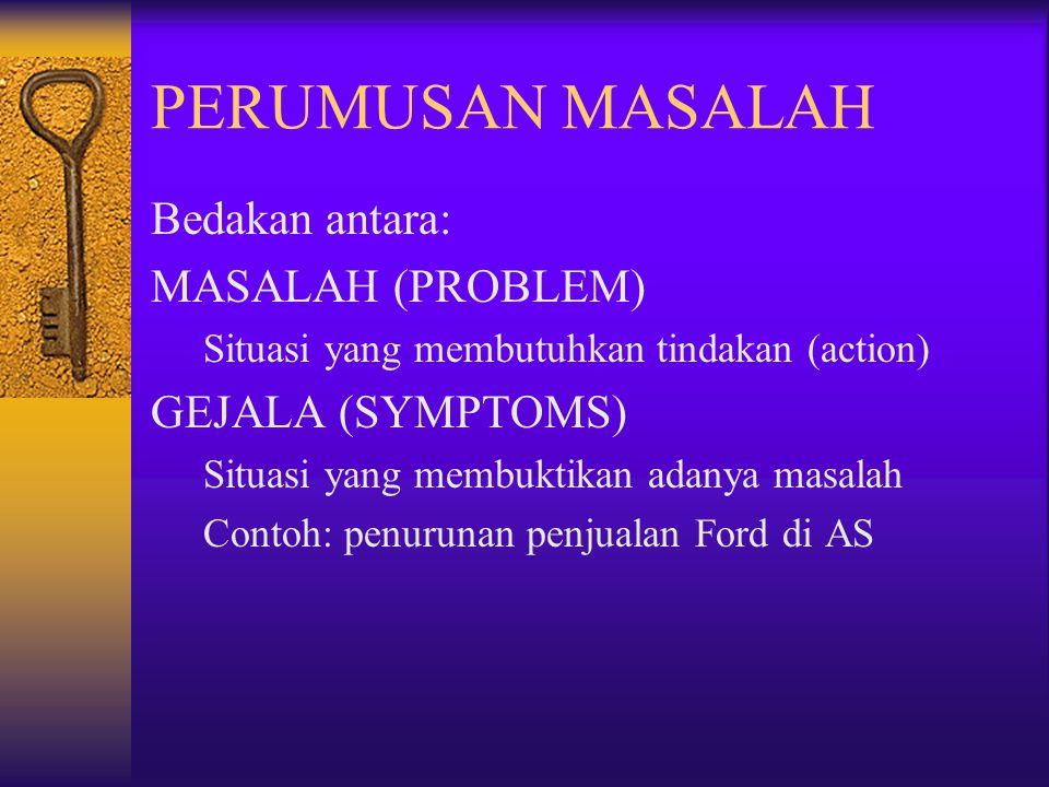 PERUMUSAN MASALAH Bedakan antara: MASALAH (PROBLEM) Situasi yang membutuhkan tindakan (action) GEJALA (SYMPTOMS) Situasi yang membuktikan adanya masal