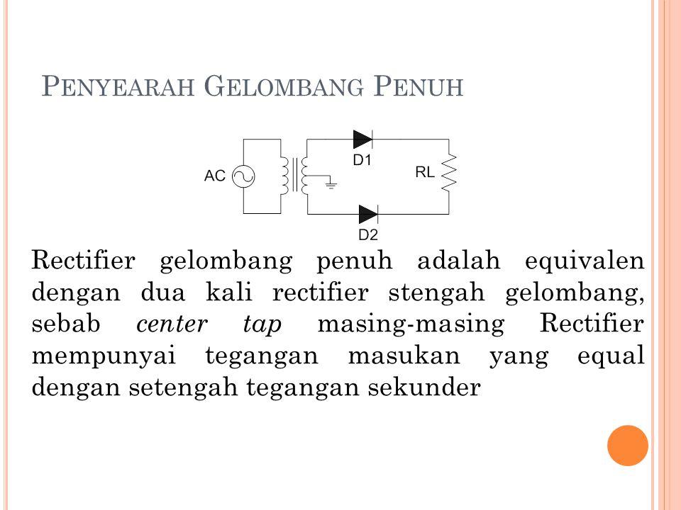P ENYEARAH G ELOMBANG P ENUH Rectifier gelombang penuh adalah equivalen dengan dua kali rectifier stengah gelombang, sebab center tap masing-masing Re