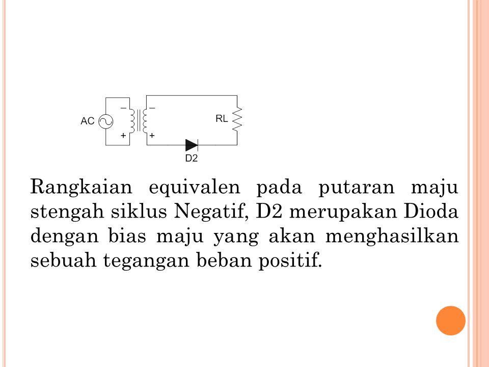 Rangkaian equivalen pada putaran maju stengah siklus Negatif, D2 merupakan Dioda dengan bias maju yang akan menghasilkan sebuah tegangan beban positif