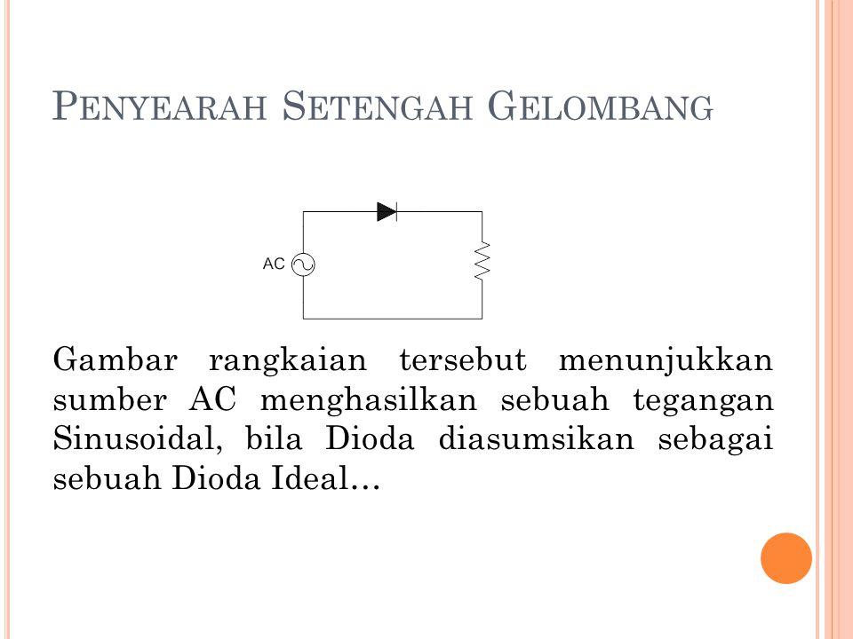 P ENYEARAH S ETENGAH G ELOMBANG Gambar rangkaian tersebut menunjukkan sumber AC menghasilkan sebuah tegangan Sinusoidal, bila Dioda diasumsikan sebaga