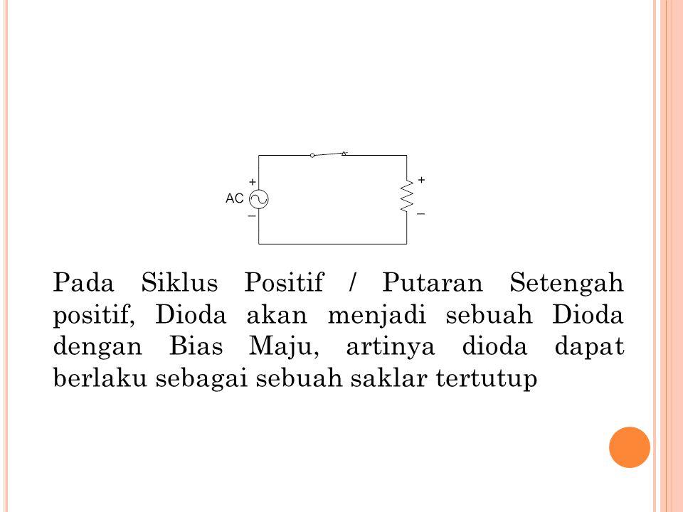 Pada Siklus Positif / Putaran Setengah positif, Dioda akan menjadi sebuah Dioda dengan Bias Maju, artinya dioda dapat berlaku sebagai sebuah saklar te
