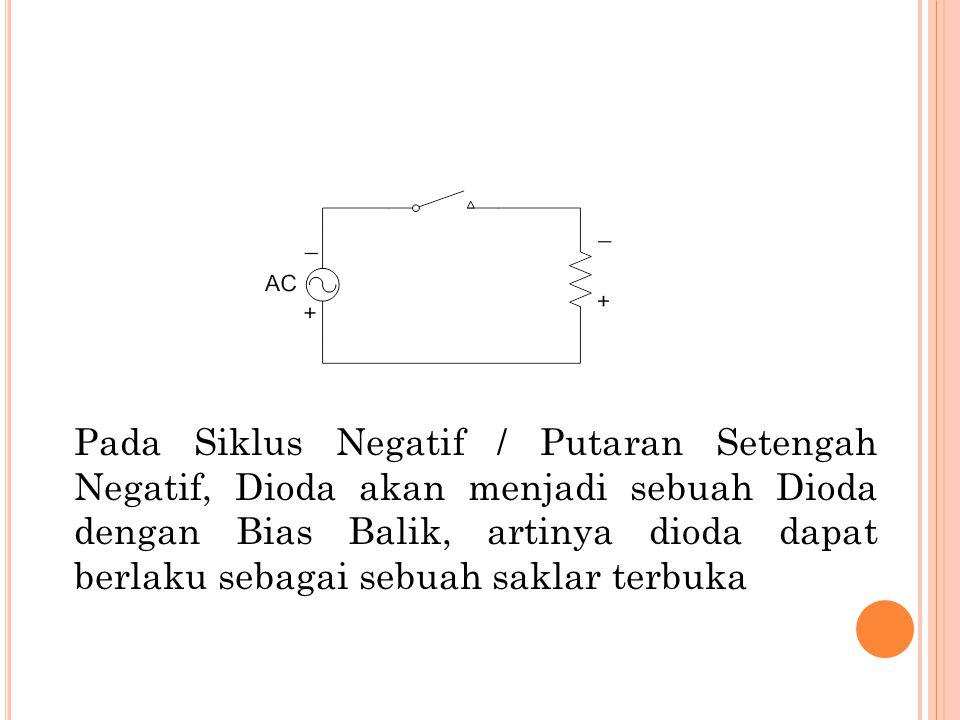 Pada Siklus Negatif / Putaran Setengah Negatif, Dioda akan menjadi sebuah Dioda dengan Bias Balik, artinya dioda dapat berlaku sebagai sebuah saklar t