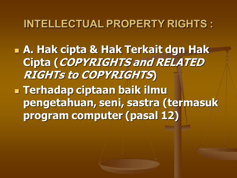 INTELLECTUAL PROPERTY RIGHTS : A.