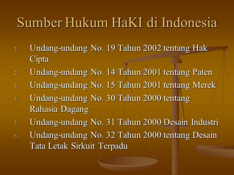Sumber Hukum HaKI di Indonesia 1. Undang-undang No. 19 Tahun 2002 tentang Hak Cipta 2. Undang-undang No. 14 Tahun 2001 tentang Paten 3. Undang-undang