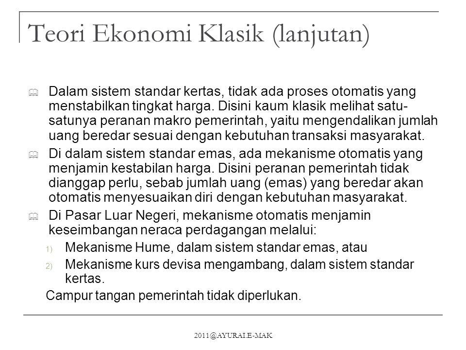 2011@AYURAI.E-MAK Teori Ekonomi Klasik (lanjutan)  Dalam sistem standar kertas, tidak ada proses otomatis yang menstabilkan tingkat harga. Disini kau