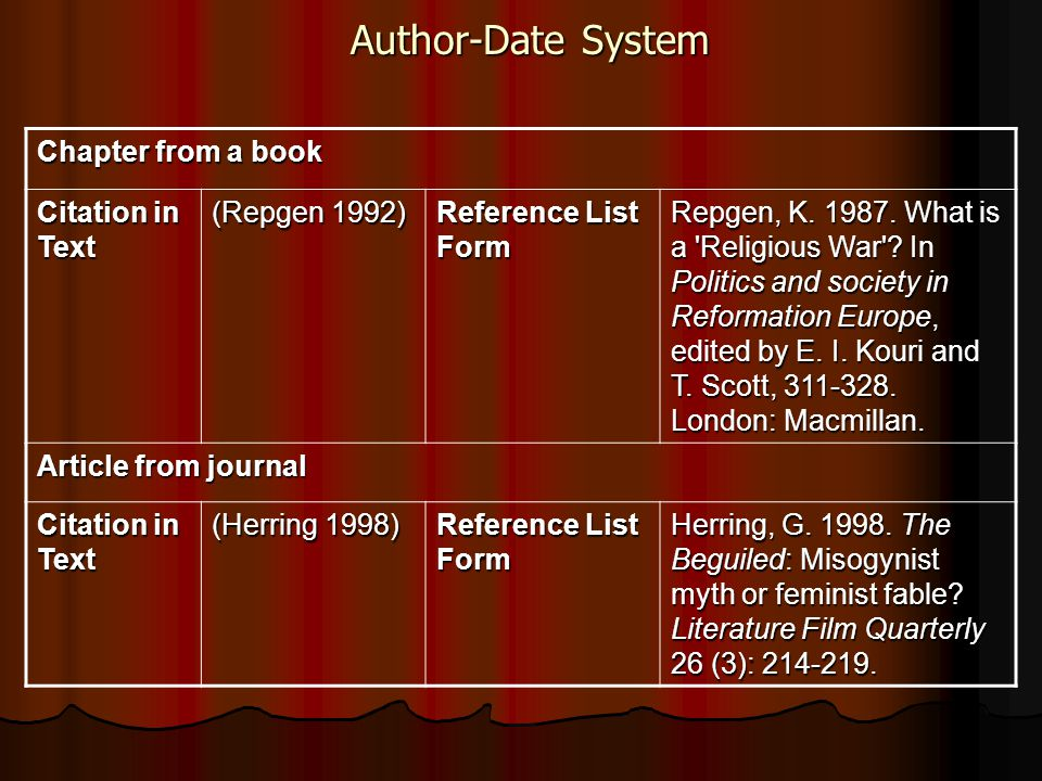 Author-Date System Chapter from a book Citation in Text (Repgen 1992) Reference List Form Repgen, K. 1987. What is a 'Religious War'? In Politics and