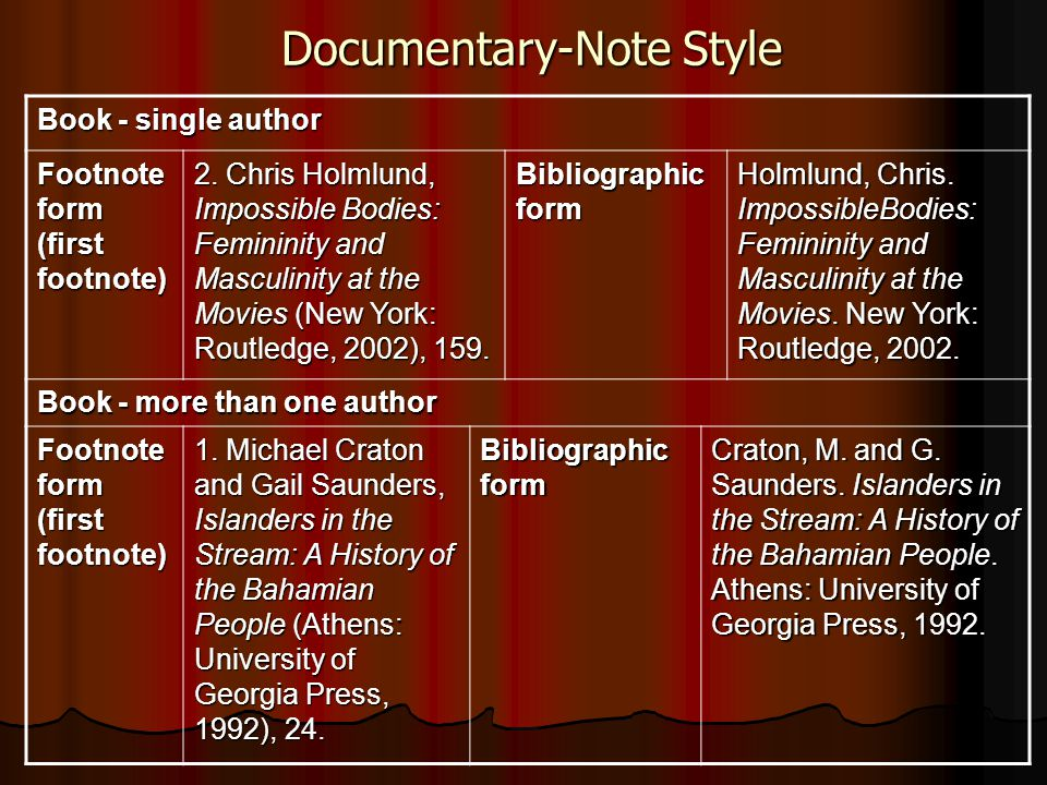 Documentary-Note Style Book - single author Footnote form (first footnote) 2. Chris Holmlund, Impossible Bodies: Femininity and Masculinity at the Mov