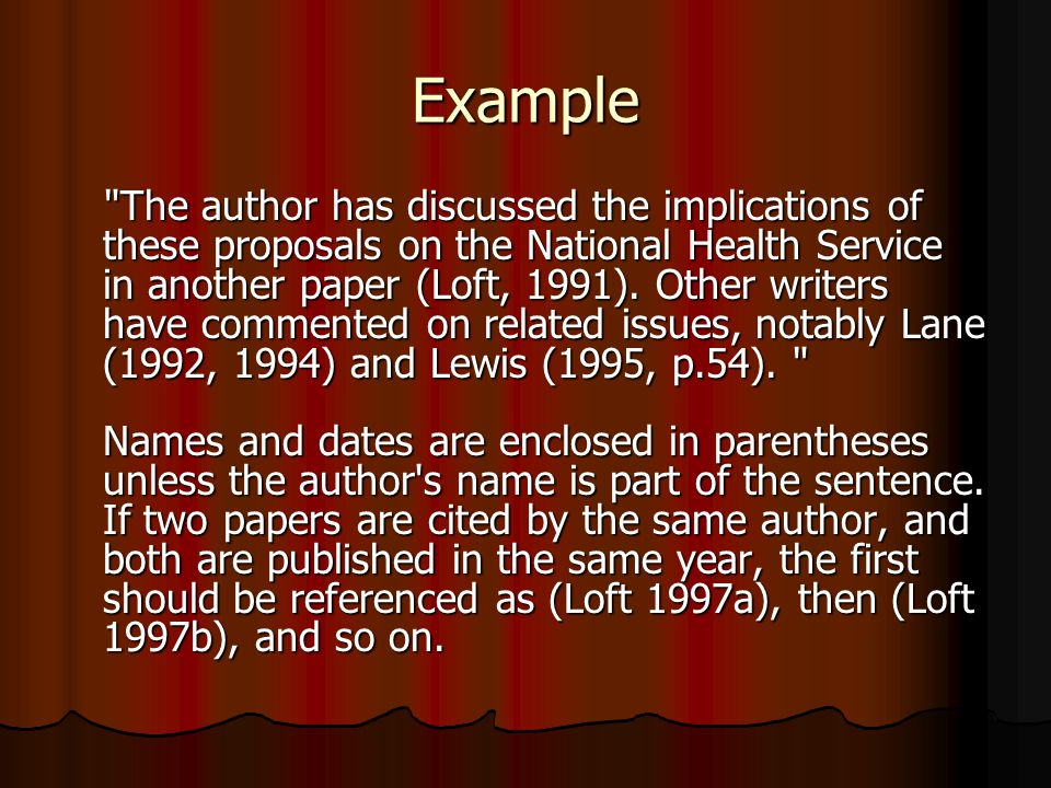 Example The author has discussed the implications of these proposals on the National Health Service in another paper (Loft, 1991).