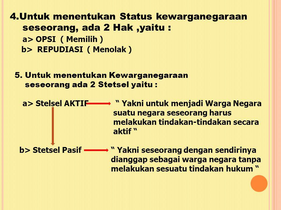 4.Untuk menentukan Status kewarganegaraan seseorang, ada 2 Hak,yaitu : a > OPSI ( Memilih ) b> REPUDIASI ( Menolak ) 5.