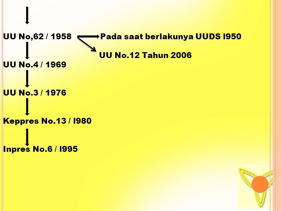 e.>anak yang lahir dari perkawinan yang sah dari seorang Ibu WNI,tetapi ayahnya tidak mempunyai kewarganegaraan atau hukum negara asal ayanya tidak memberikan kewarganegaraan kepada anak tersebut ; F>Anak yang lahir dalam tenggag waktu 300 hari setelah ayahnya meninggal dunia dari perkawinan yang sah dan ayahnya WNRI ; g> Anak yang lahir di luar perkawinan yang sah dari seorang Ibu Warga Negara Indonesia ; H> Anak yang lahir di luar perkawinan yang sah dari seorang Ibu Warga Negara Asing yang daikui oleh seorang ayah Wara negara Indonesia sebagai Anaknya dan pengakuan itu dilakukan sebelum anak tersebut berusia 18 tahun atau belum kawin ;