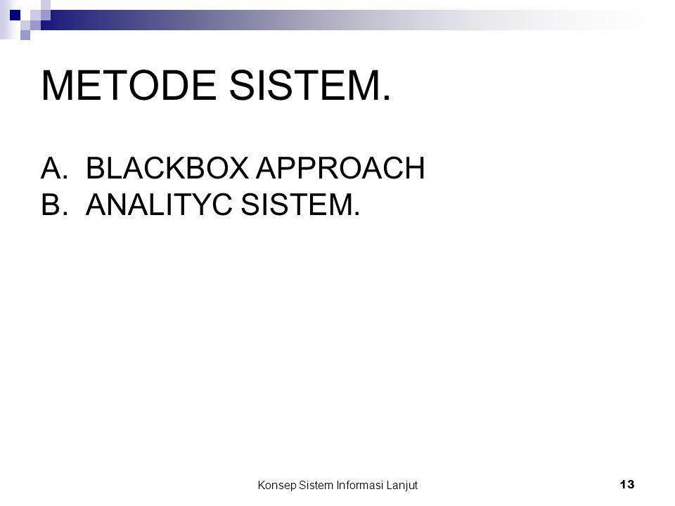 Konsep Sistem Informasi Lanjut 13 METODE SISTEM. A.BLACKBOX APPROACH B.ANALITYC SISTEM.
