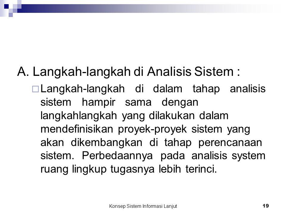 Konsep Sistem Informasi Lanjut 19 A. Langkah-langkah di Analisis Sistem :  Langkah-langkah di dalam tahap analisis sistem hampir sama dengan langkahl