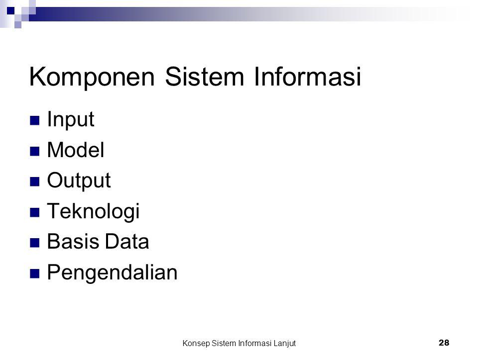 Konsep Sistem Informasi Lanjut 28 Komponen Sistem Informasi Input Model Output Teknologi Basis Data Pengendalian